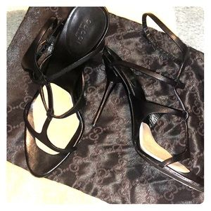 Pre-loved strappy gucci metal heel sandals pumps
